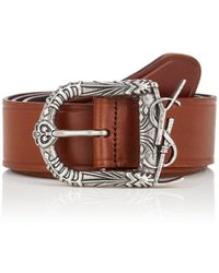 3fbb9d1bfba0f Lyst - Saint Laurent Monogram Snake-buckle Suede Belt in Brown for Men