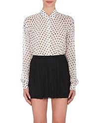 Saint Laurent | Polka Dot Silk Blouse | Lyst