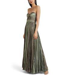 J. Mendel - Plissé Lamé Strapless Gown - Lyst