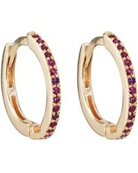 Bianca Pratt - Thin Huggie Hoop Ruby Earrings - Lyst