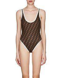 e78088d645 Fendi - Logo One-piece Swimsuit - Lyst