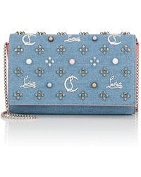 Christian Louboutin - Paloma Loub In The Sky Denim Embellished Clutch Bag - Lyst