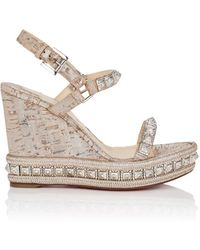 f9fcd823d23 Christian Louboutin Zero Problem Leather Espadrille Wedge Sandals in ...