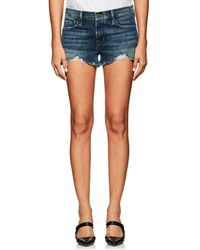 FRAME - Le Cutoff Distressed Denim Shorts - Lyst