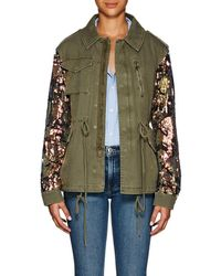 Barneys New York - Sequined-sleeve Cotton Twill Military Jacket - Lyst