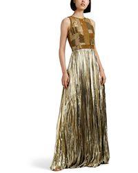 J. Mendel Embellished Plissé Lamé Gown - Metallic
