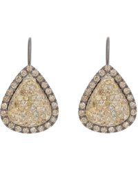 Roberto Marroni - Yellow Diamond, Brown Diamond & Oxidized Gold Teardrop Earrings - Lyst