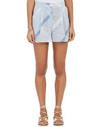 Thierry Colson   Striped & Checked Cotton Voile Shorts   Lyst
