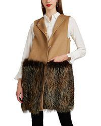 Barneys New York - Fur-trimmed Wool - Lyst