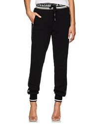 Dolce & Gabbana - Logo-striped Cotton French Terry Sweatpants - Lyst