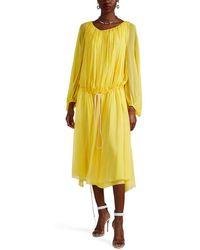 By. Bonnie Young - Silk Chiffon Drawstring Shift Dress - Lyst