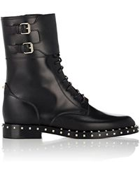 Valentino - Rockstud Leather Combat Boots - Lyst