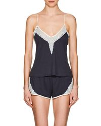 Skin - Gia Lace-trimmed Organic Cotton Camisole - Mid - Lyst