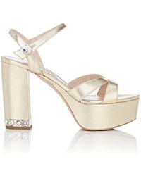 Miu Miu - Metallic Leather Ankle-strap Platform Sandals - Lyst