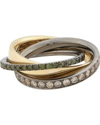 Roberto Marroni - Mixed Diamond, Yellow Gold & Oxidized White Gold Triple Ring - Lyst