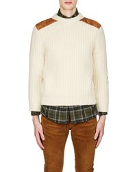 Saint Laurent - Suede-patch Wool-blend Sweater - Lyst