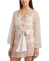 32a0966620 Gilda   Pearl Aurora Silk Crepe Long Robe in White - Lyst