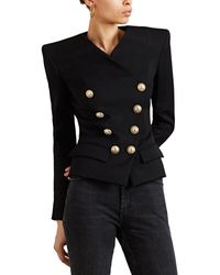Balmain - Wool Gabardine Wrap Jacket - Lyst