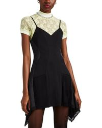 Alexander Wang - Lace- & Satin-trimmed Stretch-crepe Minidress - Lyst