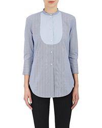 Helmut Lang - Striped Cotton Poplin Tuxedo Shirt - Lyst