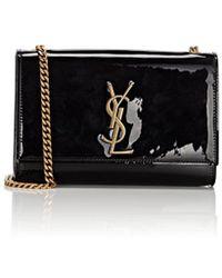 9b1538468e51 Saint Laurent Monogram Kate Small Suede Chain Bag in Black - Lyst
