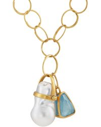 Eli Halili - Aquamarine & Pearl Pendant Necklace - Lyst
