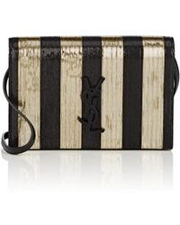 Saint Laurent - Monogram Kate Metallic Strap Wallet - Lyst