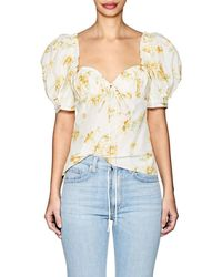 Brock Collection - Trixie Floral Cotton-silk Puff-sleeve Blouse - Lyst