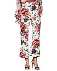 Dolce & Gabbana - Peony-print Cady Trousers - Lyst