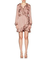 Juan Carlos Obando - Ruffle Washed Satin Wrap Minidress - Lyst
