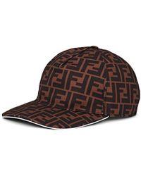 74c42c0b64a Fendi - Ff Logo Canvas Baseball Hat - Lyst