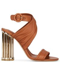 8fb702b64c38 Ferragamo - Teana Flower-heel Leather Sandals - Lyst