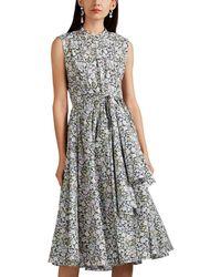 Zac Posen - Floral Cotton Poplin Tie-waist Shirtdress - Lyst