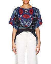 Warm - Side-tie Floral Cotton-silk Blouse - Lyst