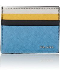 Prada - Colorblocked Leather Card Case - Lyst