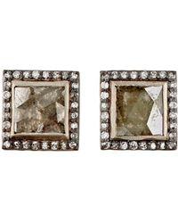 Nak Armstrong - Diamond Square Stud Earrings - Lyst