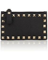Valentino - Rockstud Leather Zip Card Case - Lyst