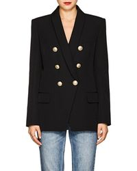 Balmain - Wool Canvas Double-breasted Blazer - Lyst