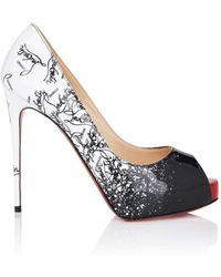 ce22af87c80b0f Lyst - Christian Louboutin 100mm Very Prive Kid Open Toe Pumps in Black
