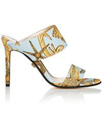 Versace - Starfish-print Faille Mules - Lyst