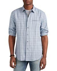 John Varvatos - Grid-checked Linen-blend Shirt - Lyst