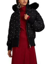 Prabal Gurung - Pearl-embellished Plissé Jersey Convertible Puffer Coat - Lyst