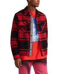 f81e27d9aa9d Lyst - Off-White c o Virgil Abloh Quote Flannel Shirt In Red in Red ...