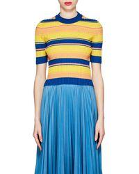 Maison Margiela - Striped Rib-knit Wool-blend Sweater - Lyst