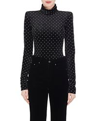 Saint Laurent - Embellished Velvet Bodysuit - Lyst