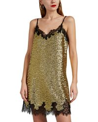Robert Rodriguez - Lace-trimmed Sequined Slip Dress - Lyst