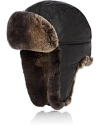 Crown Cap - Fur-trimmed Leather Aviator Hat - Lyst