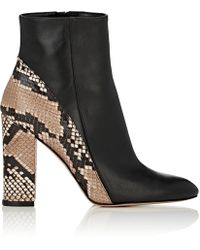 Barneys New York - Leather & Snakeskin Ankle Boots - Lyst