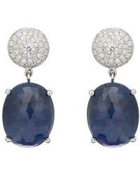 Zoe - Diamond & Sapphire Drop Earrings - Lyst