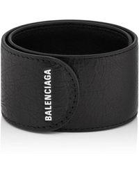583aaaae428e0 Balenciaga - Logo-print Textured-leather Snap Bracelet - Lyst